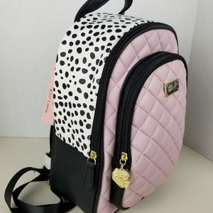 Betsey Johnson pink quilted backpack with black